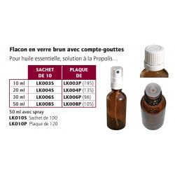 Flacon 20 ml + cpte goutte blanc le sac de 10
